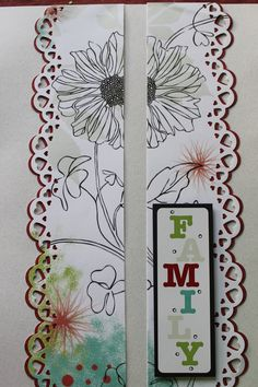 """I found that the sticker I used the least, and therefore had the most of, was this multi colored """"Family"""" one...finally created a layout that it coordinates with and I like. The border punch is Our Memories for Life's scalloped hearts"""