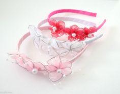 Pretty Flower Headband Hair band Alice Band Satin ribbon Pearls silver thread