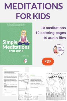 Simple Meditation for Kids Brand New! Simple Meditation for Kids 10 written meditations you can read to your kids 10 audio files you can play 10 coloring pages to print and hand out to the children Kids Yoga Stories Meditation Kids, Mindfulness For Kids, Guided Meditation, Simple Meditation, Relaxation Scripts, Guided Relaxation, Audio Books For Kids, Kinesthetic Learning, Yoga Lessons