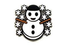 Snowman with Snowflakes Emoji Pin