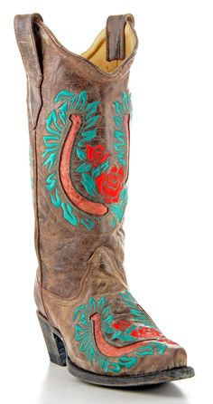 Womens Corral Inlay Boots Tabacco And Red #R1007.  Turquoise.