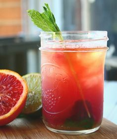 Mint & Whiskey Blood Orange Sour ~ 1 cup fresh squeezed blood orange juice, 1 teaspoon powdered sugar, 1 sprig of mint, ½ cup whiskey, 1 lime...