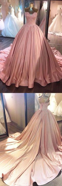 Pink Sweetheart Lace Long Ball Gown Prom Dress,sweet