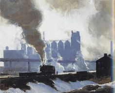 """Harry Leith-Ross, The Switch Engine, 1942, Oil on canvass board 6.25 x 10.25""""  (The right side has a glare from scanning, sorry)"""