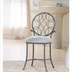 Save $50.62 on Hillsdale O`Malley Vanity Stool in Gray; only $78.38