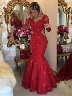 Latest Trumpet/Mermaid V-neck Tulle Sweep Train Appliques Lace Red Long Sleeve Prom Dresses #Milly020103463