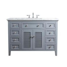 Stufurhome Gray Single Sink Bathroom Vanity with Carrara White Natural Marble Top at Lowe's. Open the shutters and let your bathroom shine. Your bathroom is your sanctuary from the world. It& where you take those long, hot bubble baths, Single Sink Bathroom Vanity, Vanity Sink, Bathroom Vanities, Bathrooms, Master Bathroom, Vanity Mirrors, Bathroom Closet, Bathroom Cabinets, Small Bathroom