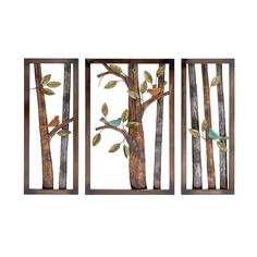 Woodland Imports Attractive Styled Classy 3 Piece Metal Wall Plaque Set