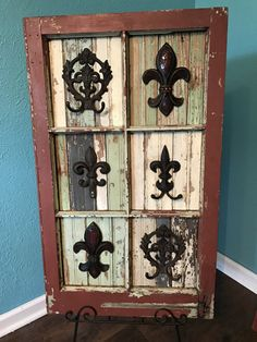 Rustic Fleur de lis Placed on Upcyclef Wood and by JustMeandMom