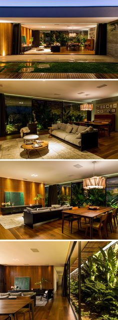 This living and dining room area is open on both sides. One side is the backyard and pool, the other side is open to a collection of tropical plants.