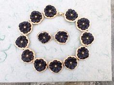 Vintage Signed Kenneth Lane Black Pansy Flower necklace earring set AC028 #KennethJayLane