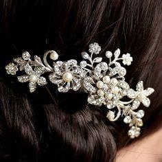 Fashion Rhinestone Bridal Wedding Flower Pearls Headband Hair Clip Comb Jewelry  #Unbranded - ebay - $3.79