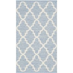 Alcott Hill Valley Hand-Woven Light Blue/Ivory Area Rug Rug Size: Square 6'