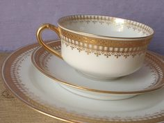 Antique 1940's Haviland Limoges France tea cup trio, gold tea cup set, French porcelain tea cup and saucer plate set, gold and white china on Etsy, $69.00