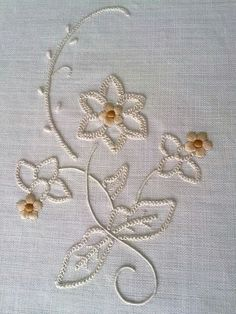Such a pretty pattern which would look gorgeous on a white dress or top 💝 Embroidery Flowers Pattern, Embroidery Works, Machine Embroidery Patterns, Crewel Embroidery, Hand Embroidery Designs, Embroidery Thread, Beaded Embroidery, Embroidered Flowers, Embroidery Stitches Tutorial
