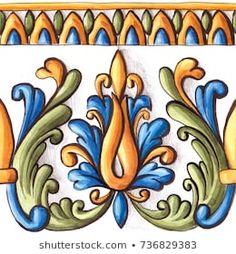 Majolica, vintage ornaments on the antique tiles, watercolor - - Art Deco Tiles, Tile Art, Textile Pattern Design, Textile Patterns, Pottery Painting Designs, Devian Art, Antique Tiles, Art Decor, Decoration