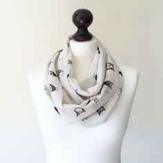 Lovely Owl Infinity Loop Circle Scarf Owl Scarf by designscope