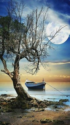 Clair de lune photos - Journey Tutorial and Ideas Beautiful Moon, Beautiful Places, Beautiful Pictures, Nature Pictures, Art Pictures, Landscape Photography, Nature Photography, Travel Photography, Boat Art