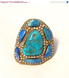 SALE Turquoise and multi Opal shell by YaronaJewelryDesign on Etsy, $260.10