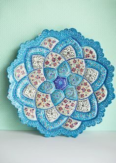 Moroccan Blue Plate Hand Painted Middle Eastern Enamel. $22.00, via Etsy.