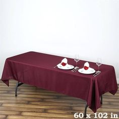 "60x102"" BURGUNDY Wholesale Polyester Banquet Linen Wedding Party Restaurant Tablecloth"