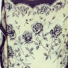 Vintage 50s Silk Scarf Black and White Rose by BeatificVintage, $22.00