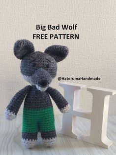 Ravelry: Big Bad Wolf pattern by Hateruma Handmade Crochet Wolf, Crochet Pig, Crochet Doll Pattern, Crochet Patterns, Doll Patterns Free, Baby Knitting Patterns, Amigurumi Patterns, Free Pattern, This Little Piggy