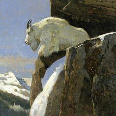 "Goat Heaven, Bob Kuhn, 14x14"" acrylic on board"