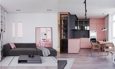 Pink and grey decor elements work in smooth harmony together. Take this modern apartment for example. A grey and pink kitchen, pink bedroom accent walls, and even some highly unusual pink bathroom facilities all work together to make this one unique home interior.