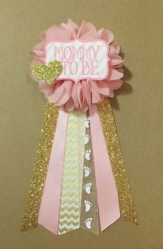 pink and gold baby shower mommytobe flower ribbon by afalasca