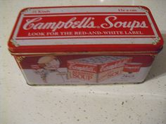 Campbells Advertising Tin Has Picture of Case of Soup