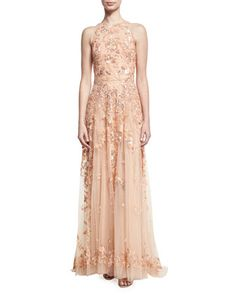 Beaded+Tulle+High-Neck+Sleeveless+Gown,+Pink+by+Zuhair+Murad+at+Neiman+Marcus.