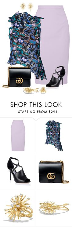 """Sin título #1613"" by marisol-menahem ❤ liked on Polyvore featuring Raoul, self-portrait, Jimmy Choo, Gucci and David Yurman"