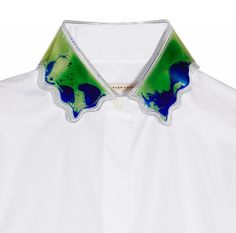 CHRISTOPHER KANE Brilliant PVC gel-collared cotton shirt I just love a strong detail against a crisp tailored white shirt - and this is a detail like no other, innovative as well - Beautiful colors,...