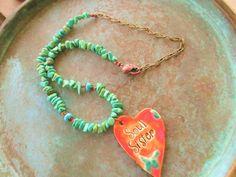 Green turquoise necklace boho necklace soul by StoneworksByJan