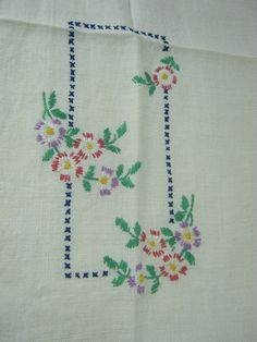 Vintage LINEN TOWEL Fringed EMBROIDERED by LavenderGardenCottag, $8.00