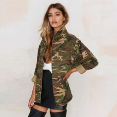 Jacket Womens Loose Camouflage -. Item Type:Outerwear & Coats   Outerwear Type:Jackets   Gender:Women   Clothing Length:Regular   Closure Type:Zipper   Hooded:No   Collar:Turn-down Collar   Sleeve Length:Full   Decoration:None   Pattern Type:Print   Sleeve Style:Regular   Type:Slim   Style:Fashion   Material:Polyester   Model Number:15135F901   detail:Patch   style:fashion   season:spring summer   is customized:yes   place of origin:China   Color Style:Natural Color