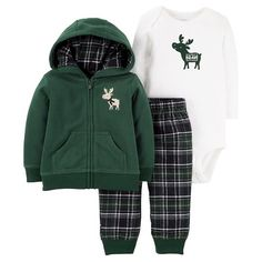 3a1197af6 Baby Boys' 3-Piece Fleece Cardigan Set Green Hooded Moose - Just One You