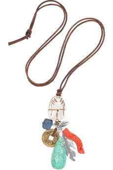 Chan Luu  Bone and multi-stone charm necklace  $210