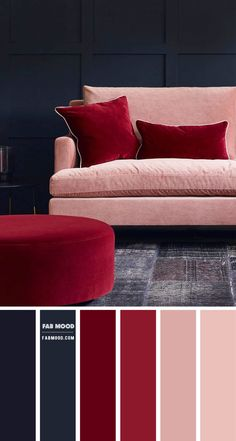 Blue And Pink Living Room, Living Room Red, Living Room Color Schemes, Colours For Living Room, Bedroom Colors, Color Schemes Colour Palettes, Red Colour Palette, Navy Blue Walls, Navy Pink