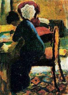 "Elisabeth at the Table, August Macke German painter who was a leader of Der Blaue Reiter (""The Blue Rider""), an influential group of Expressionist artists. August Macke, Wassily Kandinsky, Franz Marc, Cavalier Bleu, Maurice De Vlaminck, People Reading, Blue Rider, Painting Prints, Art Prints"