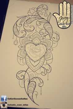 Beautiful rose tattoo idea design for a thigh arm by dzeraldas jerry kudrevicius from Atlantic Coast tattoo. Mandala lotus lace tattoo design with pretty patterns and lace ornamental. Heart shape flower lace