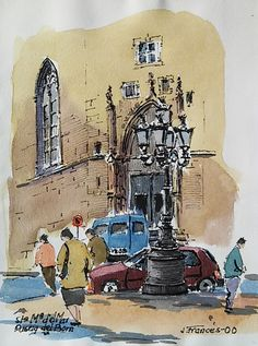 Santa Maria del Mar, Barcelona (ink & watercolor), Joaquim Francés.