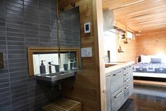 Check out this awesome Hokura PDX Container Home. Located in Portland OR and built by the awesome people of This is another Steel Box contstructed home. Let us know what you think of this place. Tiny Cabins, Tiny House Cabin, Tiny House Living, Tiny House Plans, Shipping Container Restaurant, Shipping Container Homes, Container House Design, Tiny House Design, Loft
