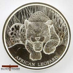 2017 Rep of Ghana African Leopard 1 ounce Silver bullion coin is issued by the Scottsdale mint for the Republic of Ghana and limited to only 5000 items.