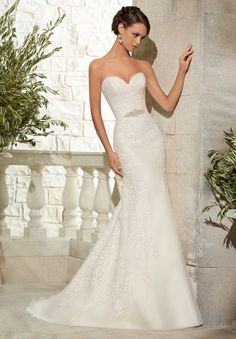 $215.95 Contracted Sheath/Column Sweetheart Sleeveless Applique Court Train Chiffon Wedding Dresses Discount 2015 HTWD-1006 - ca-bridal.com