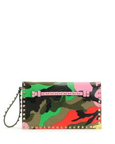 Psychedelic Camo Rockstud Flap Clutch Bag by Valentino at Neiman Marcus.