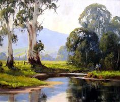 Fishing on the Yarra by Gerard Mutsaers. 35 x 30 Watercolor Architecture, Watercolor Landscape, Landscape Art, Landscape Paintings, Watercolor Paintings, Watercolour, Australian Painting, Australian Artists, Impressionist Artists