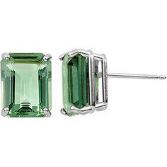 Mint Green Quartz Stud Earrings in Sterling Silver
