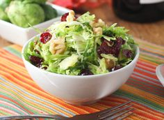 Crunchy Brussels Sprouts Salad with Walnuts and Cranberries